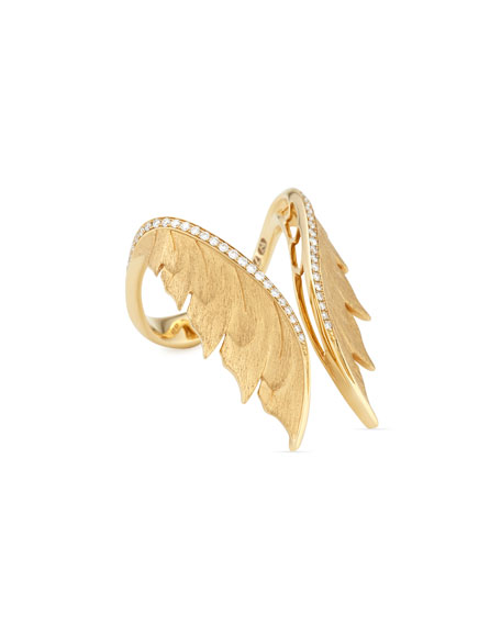 Magnipheasant 18k Diamond Open Wing Ring