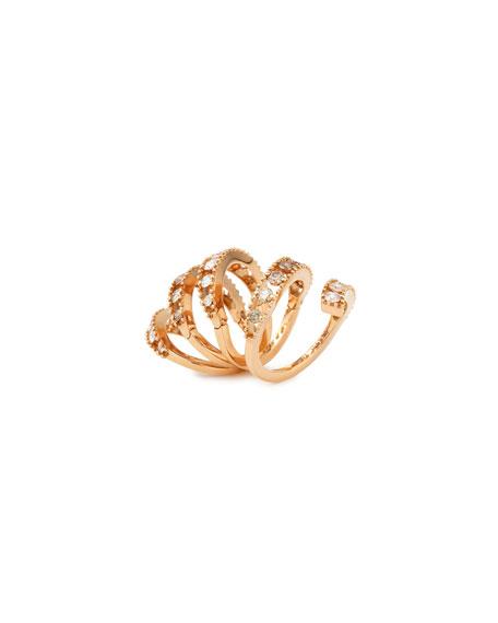 18k Rose Gold Coiled Diamond Flex Ring