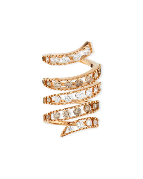 18k Rose Gold Coiled Diamond Flex Ring, Size 6.5