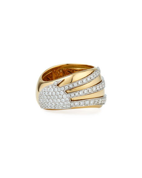 18k Gold Sun Ray Ring with Diamonds