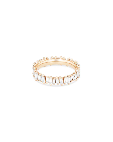 Fireworks Diamond Baguette Eternity Ring in 18k Rose Gold, Size 6.5