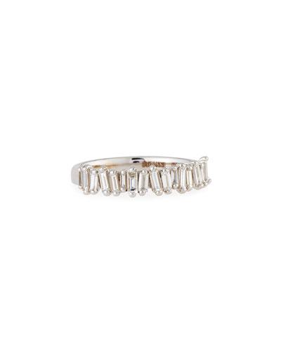 White Diamond Baguette Half-Eternity Band Ring, Size 6.5