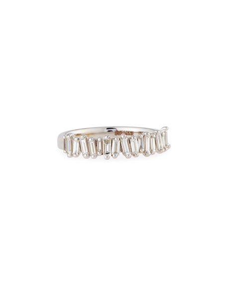 White Diamond Baguette Half-Eternity Band Ring, Size 6.5
