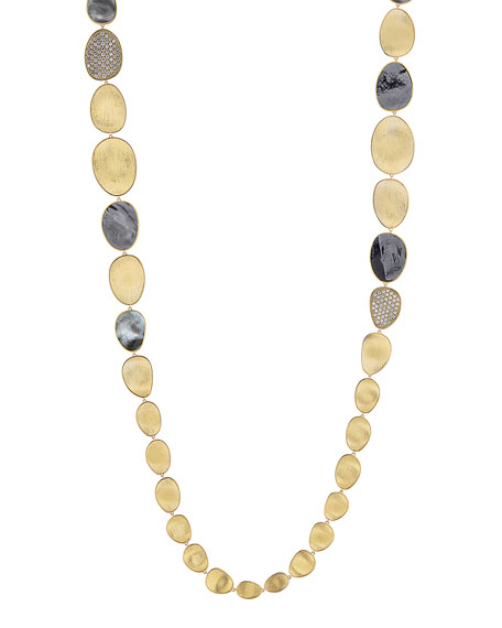 18k Gold Lunaria Mixed Station Necklace with Black MOP & Diamonds, 38""