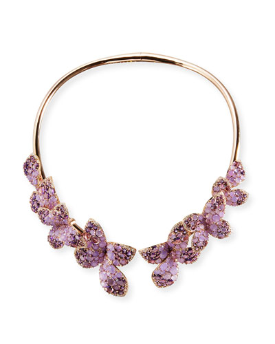 18K Rose Gold & Amethyst Butterfly Collar Necklace with Diamonds