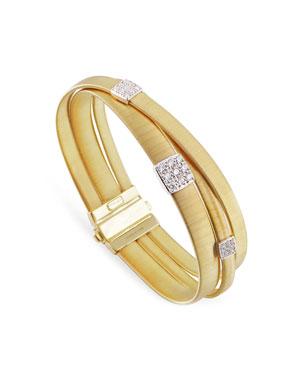 05027a8916a Marco Bicego Masai 18K Yellow Gold Three-Strand Bracelet with Diamond  Stations