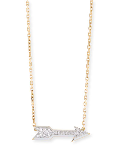 Motif 18k Gold Diamond Arrow Pendant Necklace with White Enamel
