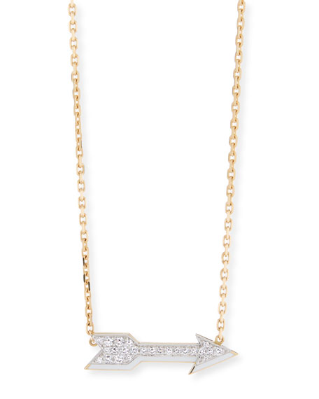 David Webb Motif 18k Gold Diamond Arrow Pendant Necklace with White Enamel
