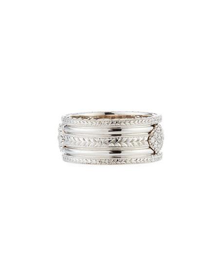18k Narrow Filigree Diamond Band Ring, Size 6.5