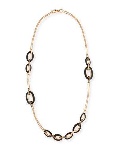 Victoria 18k Rose Gold Black Diamond Link Necklace