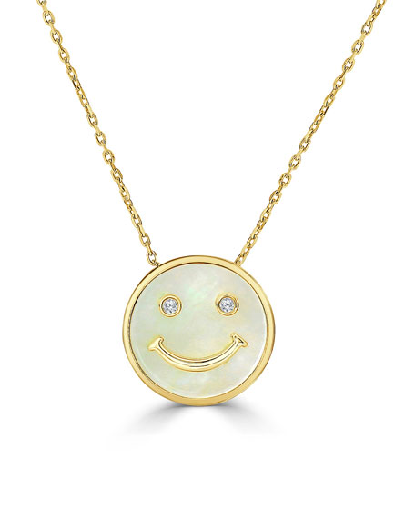 18k Diamond Smile Face Pendant Necklace