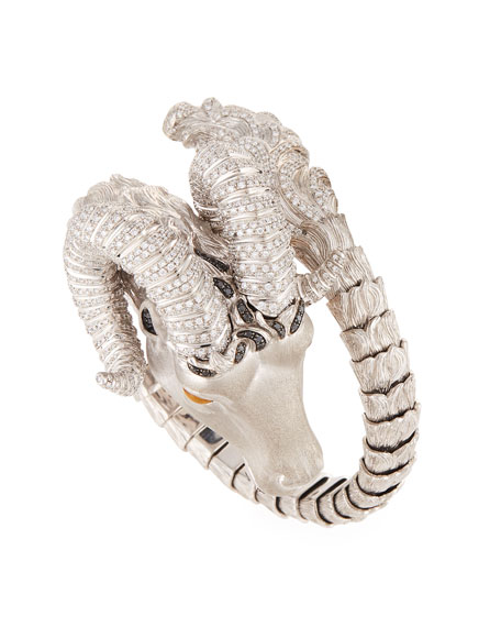 18k Gold Diamond Pave Coiled Ram Bangle