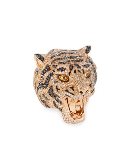 18k Rose Gold Diamond Pave Tiger Ring, Size 7