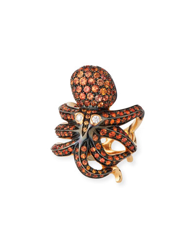 18k Rose Gold Orange Sapphire Octopus Ring, Size 6.5
