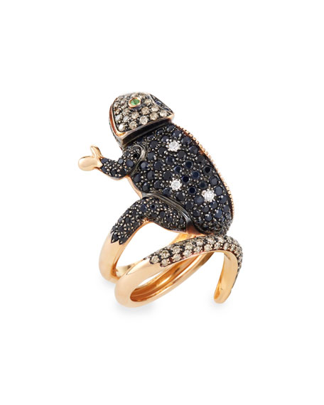 18k Rose Gold Coiled Lizard Ring, Size 6.5