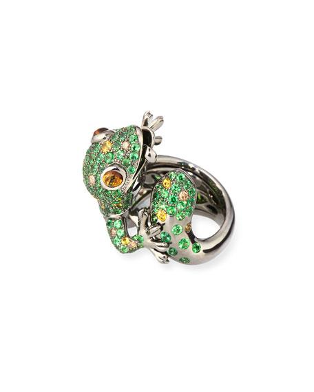 18k White Gold Pavé Garnet Lizard Ring, Size 6.5