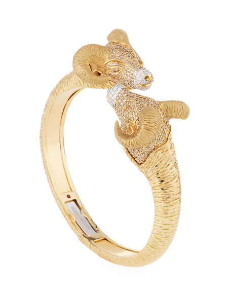 18k Gold Diamond Pavé Ram Bangle Bracelet