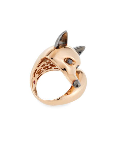 18k Rose/Black Diamond Fox Ring, Size 6.5