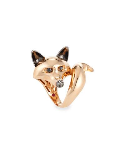 18k Rose/Black Diamond Fox Ring, Size 6.5
