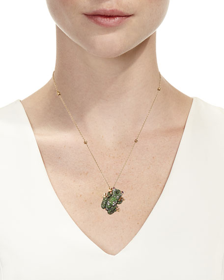 18k Pave Frog Pendant Necklace