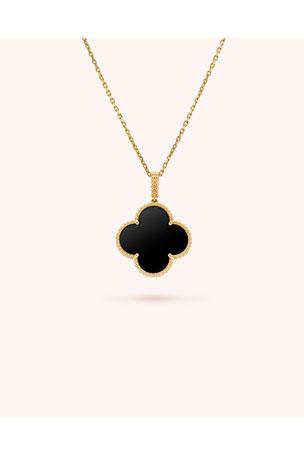 dior black clover necklace