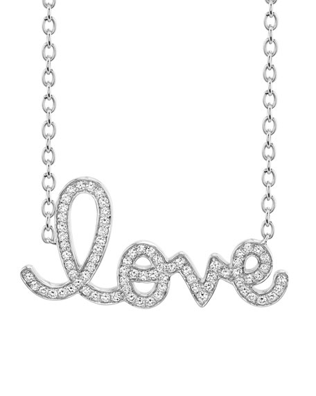 XL Diamond Love Necklace in 14K White Gold