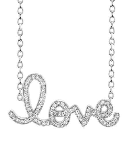 XL Diamond Love Necklace in 14K White Gold