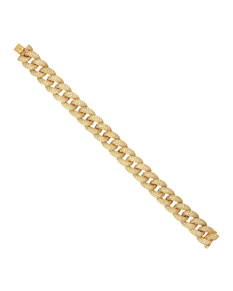 Micro Pave Diamond Curb Link Bracelet in 14k Yellow Gold