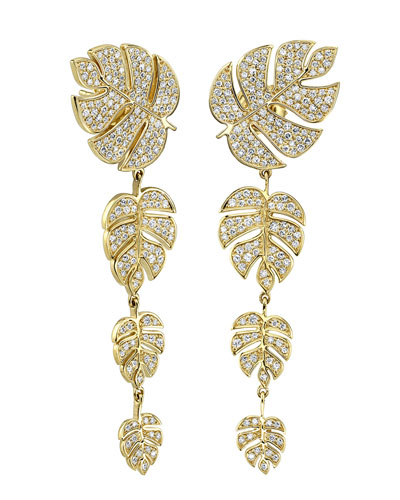 14k Diamond Monstera Leaf Drop Earrings
