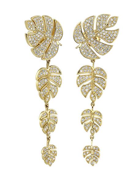 14k Diamond Monstera Leaf Drop Earrings