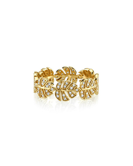 14k Diamond Monstera Leaf Eternity Ring, Size 6.5