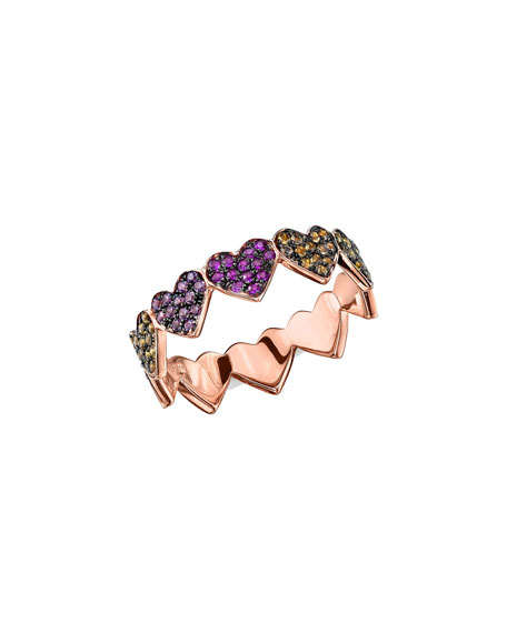 14k Rose Gold Rainbow Sapphire Heart Eternity Ring, Size 6.5