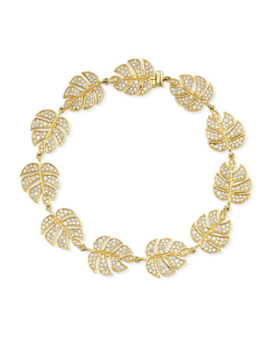 14k Diamond Monstera Leaf Eternity Bracelet