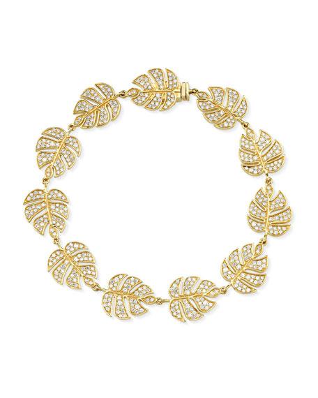 14k Diamond Monstera Leaf Eternity Bracelet