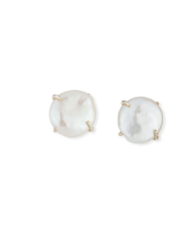 Round Coin Pearl Clip-On Earrings
