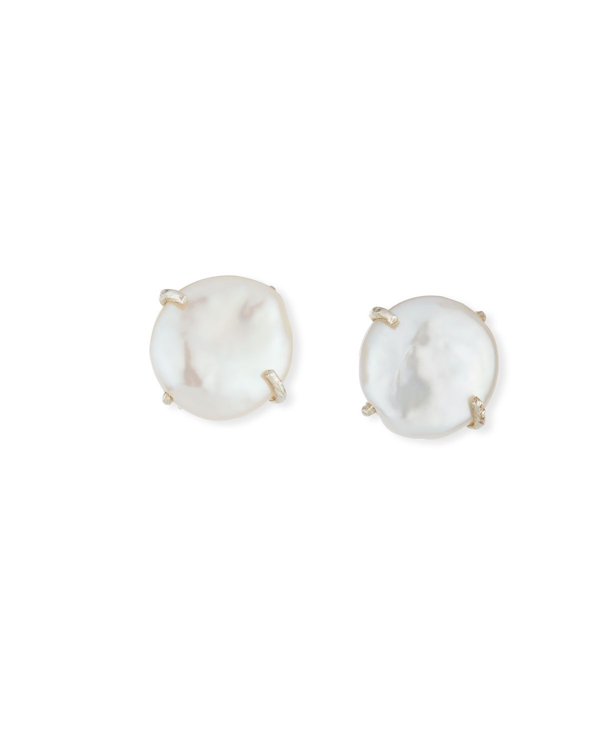 Margo Morrison Round Coin Pearl Clip-On Earrings