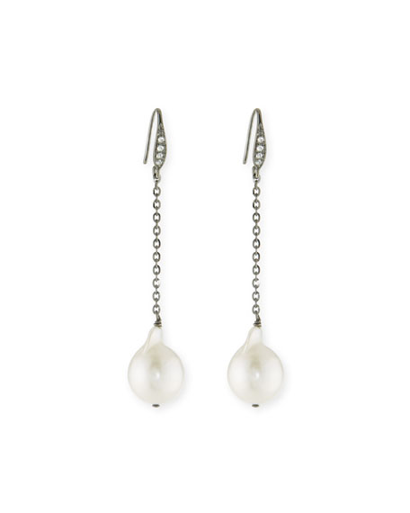 Pearl & Sapphire Drop Earrings