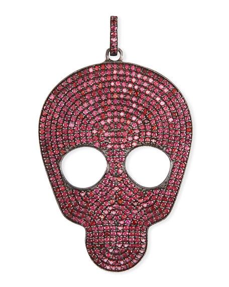Pave Rhodolite Skull Charm Pendant