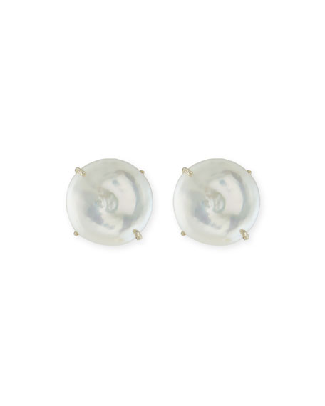 Large Round Coin Pearl Clip-On Earrings