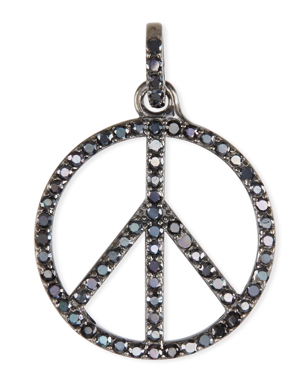 Margo Morrison Black Spinel Peace Sign Charm Pendant Neiman Marcus