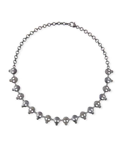 Margo Morrison Diamond & Crystal Skull Chain Necklace