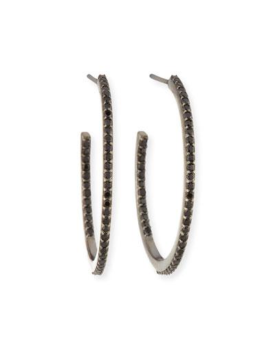 Small Black Spinel Hoop Earrings