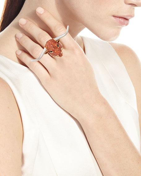 18k Orange Sapphire Pave Longhorn Ring, Size 6.5