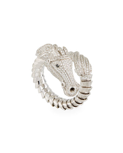 18k Diamond Pavé Horse Ring, Size 6.5