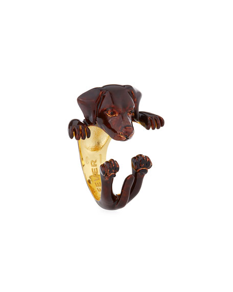 Chocolate Lab Plated Enamel Dog Hug Ring, Size 6
