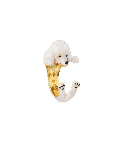 Visconti & Du Réau Poodle Plated Enamel Dog Hug Ring, Size 6