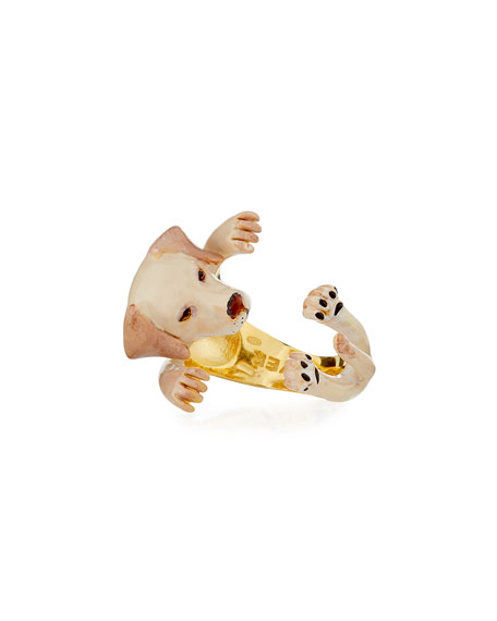 Labrador Retriever Plated Enamel Dog Hug Ring, Size 7