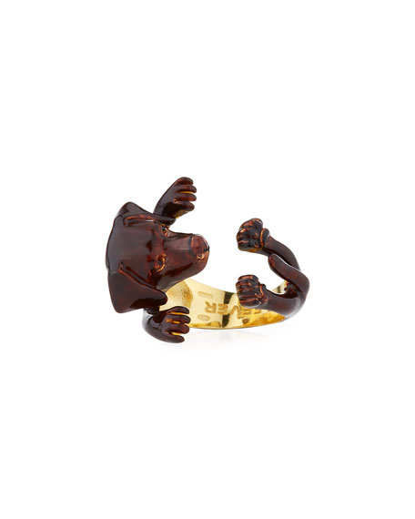 Chocolate Lab Plated Enamel Dog Hug Ring, Size 7