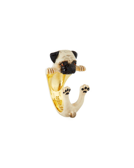 Pug Plated Enamel Dog Hug Ring, Size 7