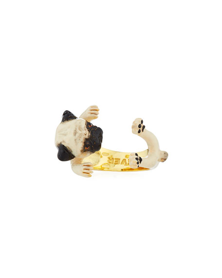 Visconti & Du Réau Frenchie Plated Enamel Dog Hug Ring, Size 7